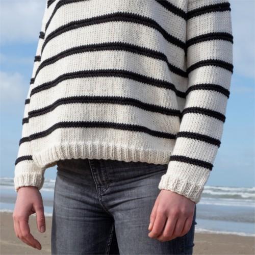 sada na pleteneý prúžkovaný sveter
