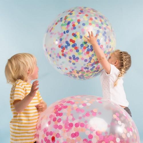 3 veľké balóny s neónovými konfetami