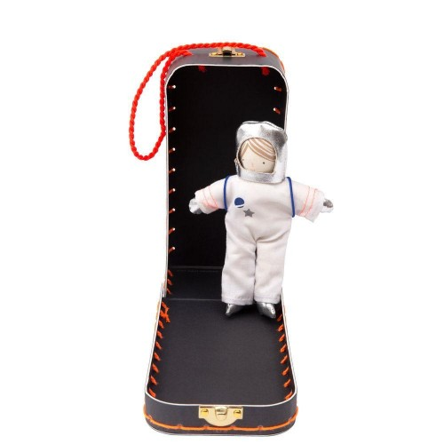 mini astronaut in suitcase