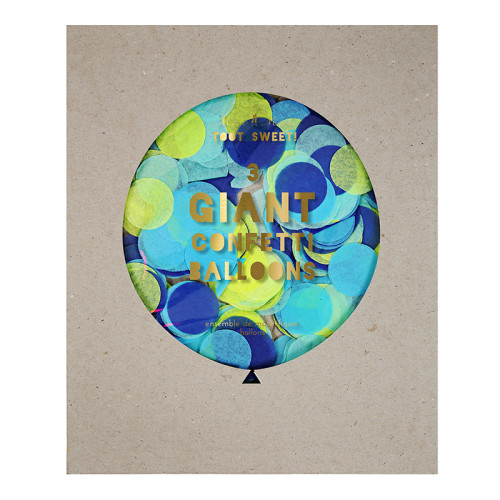 3 veľké balóny s modrými konfetami