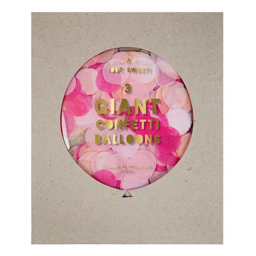 3 veľké balóny s ružovými konfetami