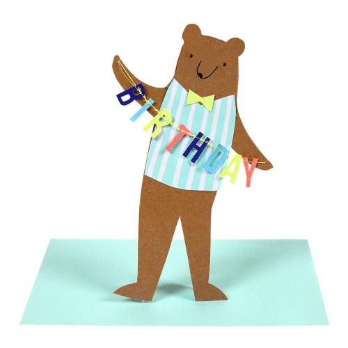 blahoželanie / pohľadnica happy birthday medveď